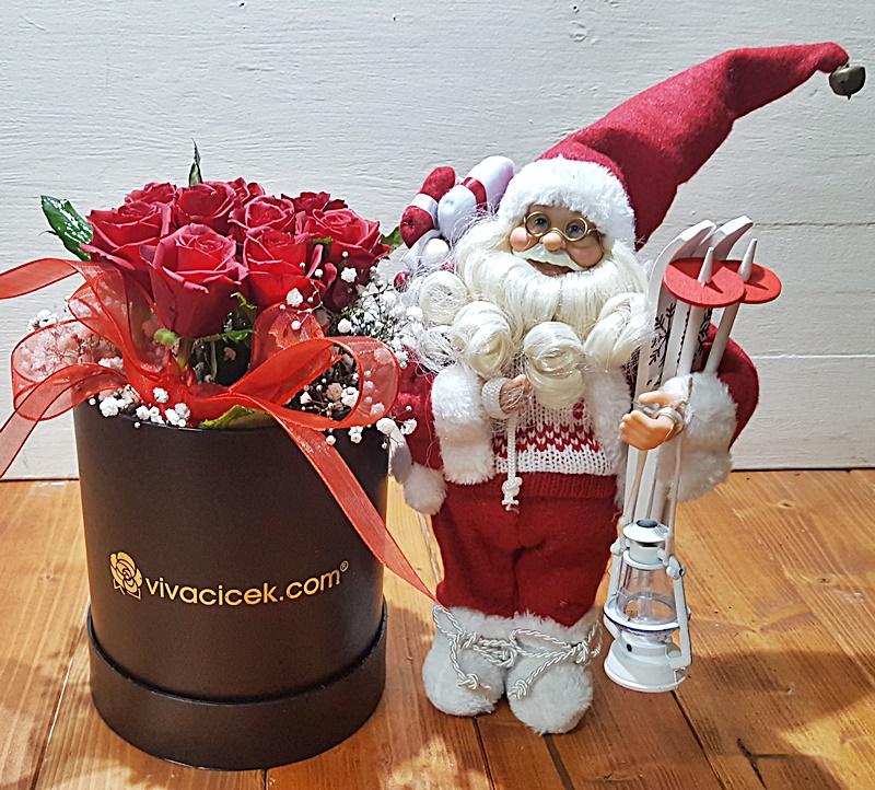 özel kutuda güller ve noel baba
